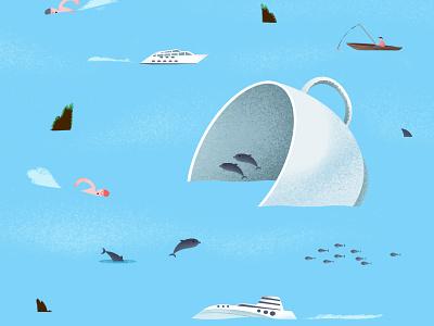 Teacup in the Sea sea adobe photoshop adobe illustrator graphic design graphic designer blue texture code girl pink illustrator illustration