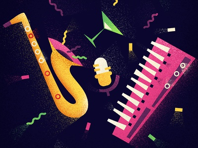 Music drink red synthesizer fun music green pink orange saxophone
