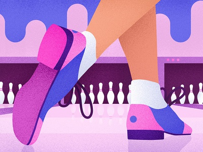 Bowling purple entertainment shoes bowling game blue pink graphic design grain texture illustrator illustration