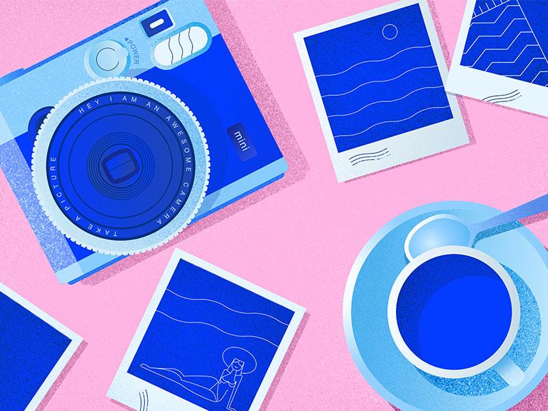 Camera photography tea cup coffee camera photo blue pink grain texture illustrator illustration