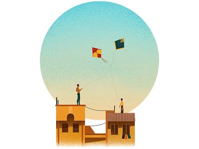 Kites celebration culture hindu sky kite uttarayan blue yellow grain texture illustrator illustration
