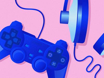 Game Time olga hashim grainy game controller headphones play game texture blue grain pink illustrator illustration