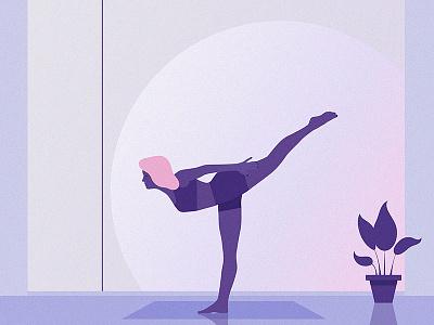 Mindfulness mindful yoga moon sun girl texture violet grain pink illustrator illustration
