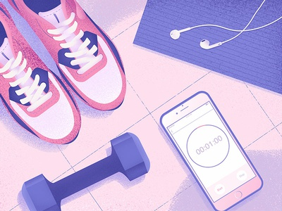 Morning Routine olga hashim grainy fitness sneakers dumbbell workout texture purple grain pink illustrator illustration
