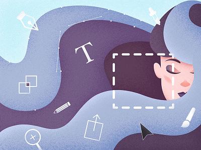 Designer's Mind wix playoff grainy designers tools hair girl texture purple grain blue illustrator illustration