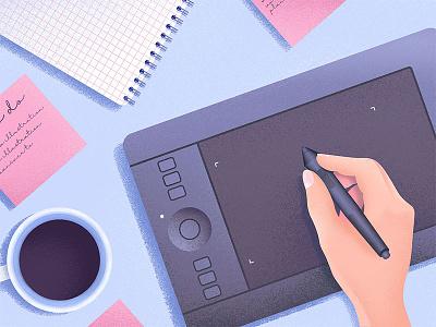 Process design process productivity work coffee grainy tablet pink texture purple blue illustrator illustration
