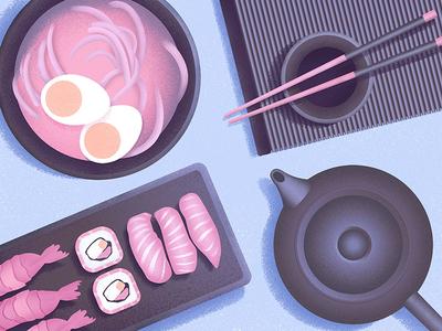 Dinner teapot food dinner grainy sushi pink texture purple grain blue illustrator illustration