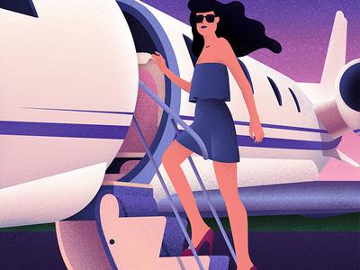 Boarding pretty girl private jet flight plane grainy pink texture purple grain boarding illustrator illustration