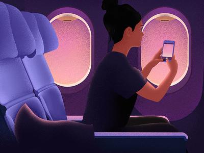 Flight phone trip girl flight sunset grainy texture purple grain plane illustrator illustration