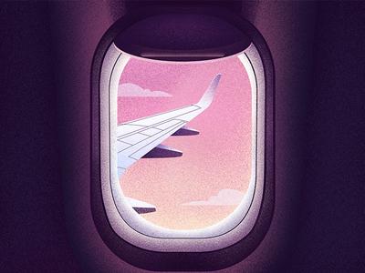 Window or Aisle? plane wing trip flight sunset grainy texture purple grain plane illustrator illustration