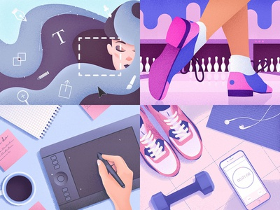 My Top 4 Shots from 2018 workout 2018 girl blue grain purple top4shots pink texture illustrator illustration