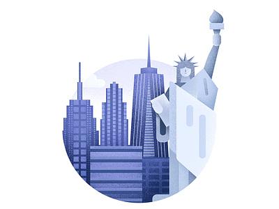 NY skyscraper building city liberty statue ny new york city new york blue grain illustrator texture illustration
