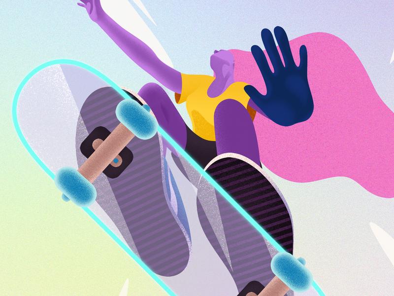 Skater future yellow sport skate board skate deck skaters skater tonyhawk grainy girl graphic design adobe photoshop pink grain adobe illustrator texture illustrator illustration