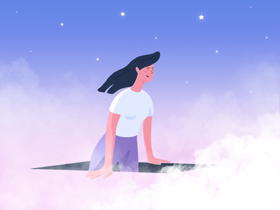 Fresh Air and Where to Find It air clouds stars space design inspiration blue girl pink purple adobe photoshop adobe illustrator texture illustrator illustration