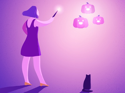 Pink Pumpkins minimalist glow wand magic cat halloween pumpkin purple pink girl grain adobe photoshop adobe illustrator texture illustrator illustration