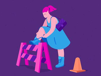 Pit Stop bag luxury orange boots barrier laces construction blue pink girl purple adobe photoshop adobe illustrator texture illustrator illustration