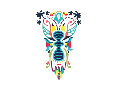 Blu illustration saturated wings icon beetle bug insect gallery psychedelic symmetrical abstract screen printing screenprint collage handmade paper paper cut paper blue blu