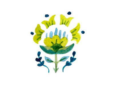 Watercolor illustration leaf leaves flowers spring paint painting texture rough hand drawn handmade green blue symmetry folk hungarian hungarian folk floral watercolor