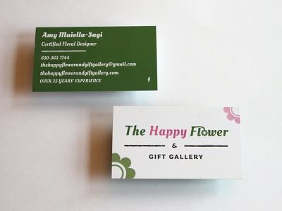Business Cards silk sola wood designer green pink print design florist flower happy business cards