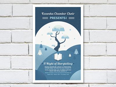 Winter Choir Show Poster blues book story wisconsin pine trees snow snowglobe poster choir winter freelance