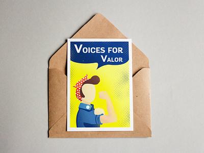 Flyer Design envelope postcard choir valor halftone rosie rosietheriveter propoganda worldwar2 print flyer