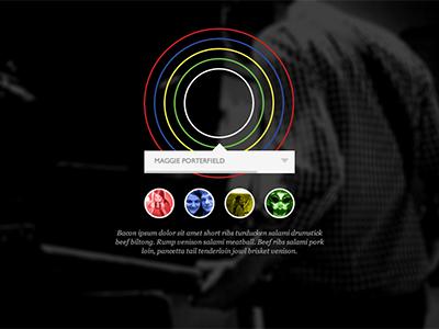 Bloc Party. Four. Interactive four teaser circle bacon ui picker bloc party