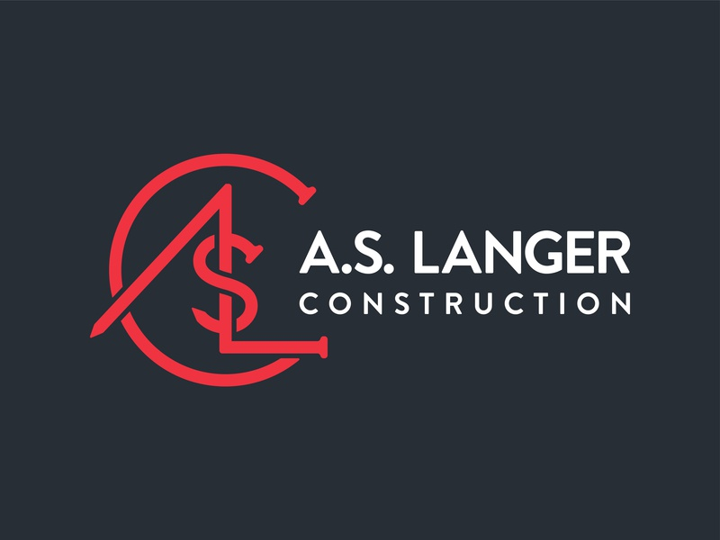 A.S. Langer Construction Logo typography type brand identity logo monogram builder contractor craftsman nail construction