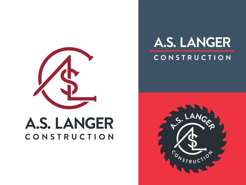 A.S. Langer Construction Logos typography type wordmark saw blade saw nail monogram logo craftsman contractor construction builder brand identity