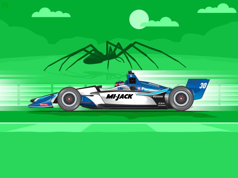 2019 Honda Indy Grand Prix of Alabama Winner grand prix car illustration spider takuma sato honda alabama speed racing racer racecar race motorsports motion indycar