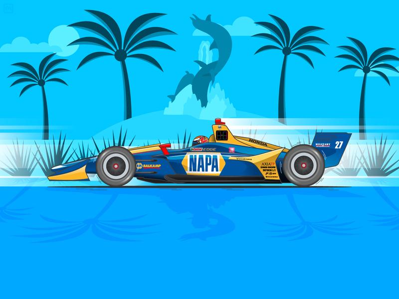 2019 Acura Grand Prix of Long Beach Winner california long beach andretti rossi alexander rossi speed racing racer racecar race motorsports motion indycar illustration honda grand prix car