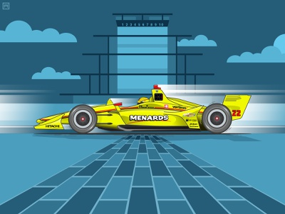 2019 Indycar Grand Prix of Indianapolis Winner brickyard indianapolis motor speedway indianapolis indy penske simon pagenaud speed racing racer racecar race motorsports motion indycar illustration chevy grand prix car