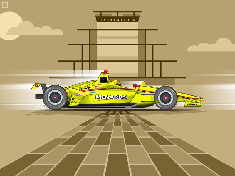 2019 Indianapolis 500 Winner speed simon pagenaud racing racer racecar race penske motorsports motion indycar indy indianapolis motor speedway indianapolis illustration chevy car brickyard