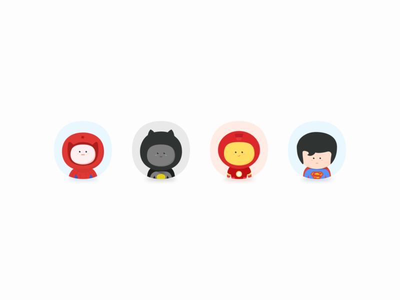 Hero's head head 超人 钢铁侠 蝙蝠侠 蜘蛛侠 superman iron man batman spider-man hero icon illustration design 插画