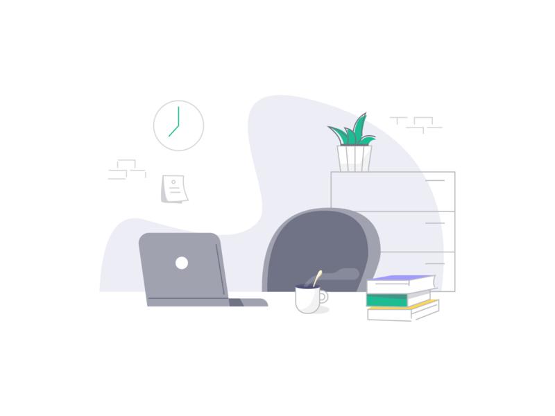 Office outline 100days icon 工作场景 办公室 work office 插画 illustration