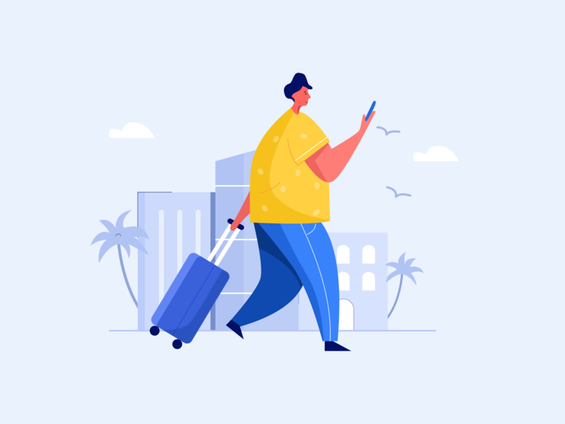 Travel 出差 a business travel 扁平插画 flat illustration outline 100days ui 旅行 travel 插画 illustration