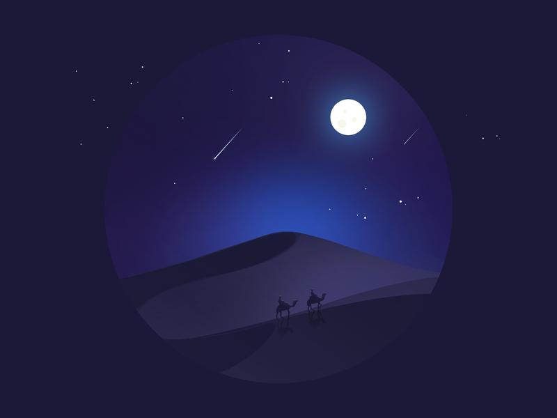 Desert camel 骆驼 夜晚 night 沙漠 desert design 100days 插画 illustration