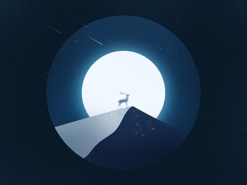 Deer night 夜晚 流星 meteor deer deers 鹿 噪点插画 icon design 100days 插画 illustration