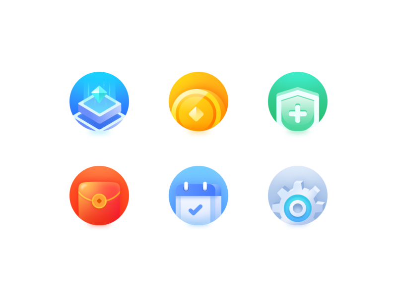 Icon calendar set up shield science and technology gold coin 日历 设置 红包 盾牌 科技 金币 colourful 多彩的 图标 2.5d app ui icon 100days design ui
