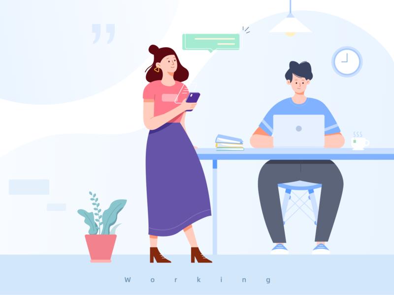 Working 办公室 office flat illustration outline ui work working 工作 插画 100days design illustration