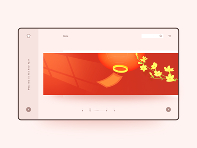 Welcome to the new year ui design web web ui flowers 花 灯笼 lantern 迎新 interface 插画 100days design ui illustration