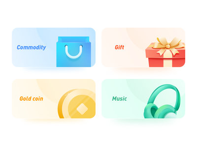 Icon coin commodity headset music gift 金币 音乐 耳机 礼物 商品 illustration 图标设计 图标 app app ui icon 插画 100days design ui