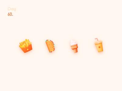 Food icon 墨西哥卷饼 mexican rolls taco 塔可 hand-held cake 手抓饼 奶茶 冰淇淋 薯条 tea with milk ice cream french fries food icon illustration 图标设计 图标 icon design colors