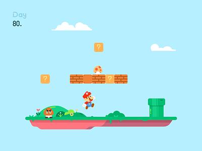 Mario 100days flat 游戏 插画 马里奥 游戏场景 games illustration mario