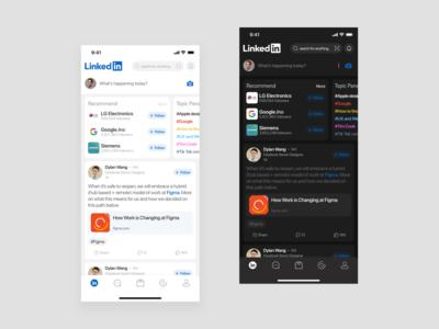 Redesign Linkedin Application linkedin redesign dark mode app design uidesign app ux design ui