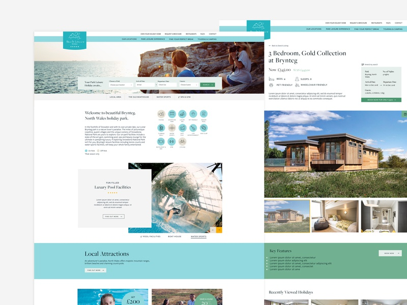 Park Leisure branding ux responsive ui design web design