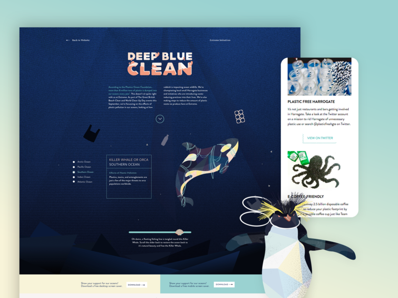 Deep Blue Clean vector typography mobile branding illustration responsive design ui web design