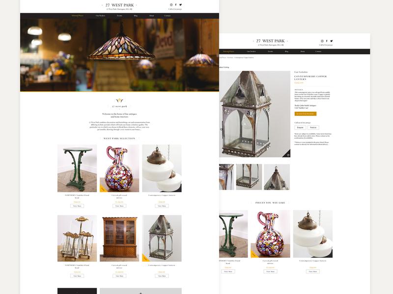 27 West Park catalogue ecommerce antiques digital web responsive ui design web design