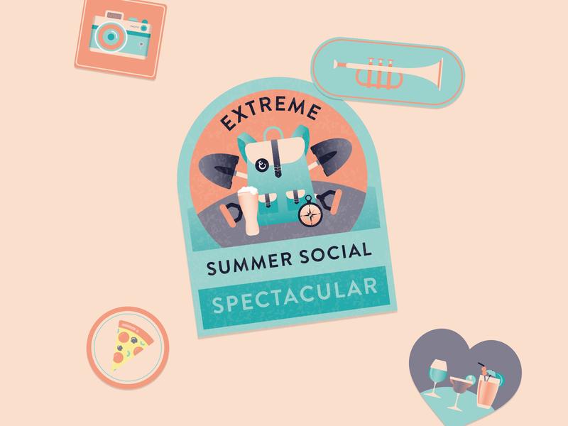 Summer Social Illustrations logo vector branding illustration