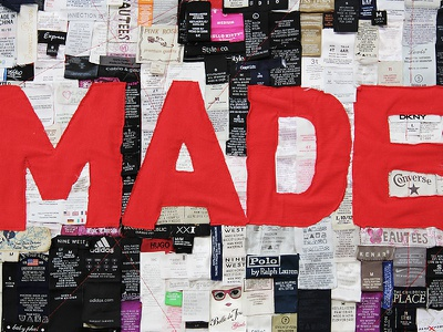 MADE made made in china made in the usa awareness poster exhibition 100 typographic posters china type typography clothing tags think buy consume shop