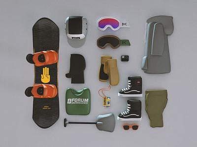 Riding essentials lowpoly 3d snowboards bataleon vans ikon snowboarding design accent creative